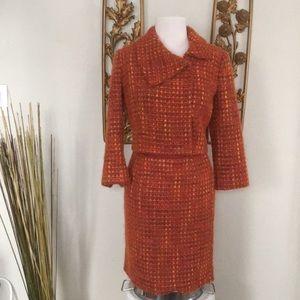 Milly Orange Tweed Skirt Suit Jacket 4 Skirt 2